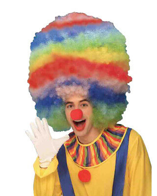 New Mens Womens Child Rainbow Multi-colored Mega Afro Clown Wig