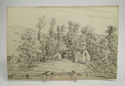 19th century English School pencil sketch drawing French rural river landscape