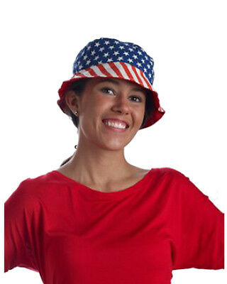 American Flag Patriotic Bucket Hat Red White And Blue Costume Accessory