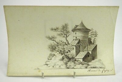 19th century English School pencil drawing study of a building signed