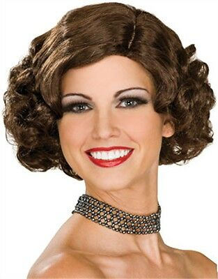 Adult Brown 20s Flapper Gangster Girl Costume Flip Wig