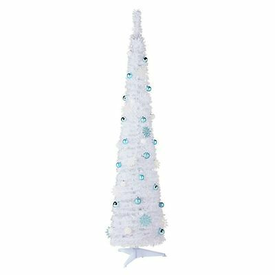 6ft (180cm) White Pop Up Decorated Christmas Xmas Tree - Nordic Shelter