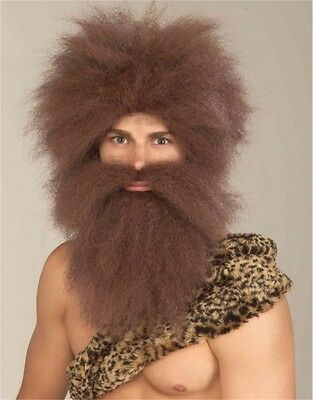 Mens Pre-Historic Caveman Bushy Brown Wig & Beard Set