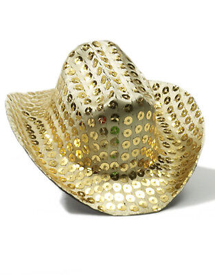 Women's Gold Sequin Mini Micro Cowboy Cowgirl Wild West Hat