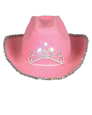 Child's Pink Blinking Tiara Sparkle Glitter Cowgirl Cowboy Hat Costume Accessory