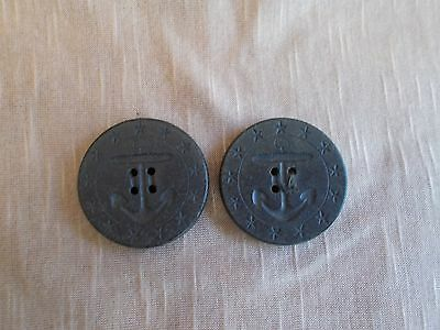 Vintage Pair of Black Anchor & Star Navy Peacoat Buttons