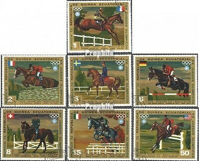 Equatorial-Guinea 126-132 (complete issue) used 1972 Equestrian