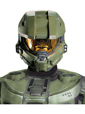Adults Mens Green Halo Master Chief Full Helmet Costume Accessory