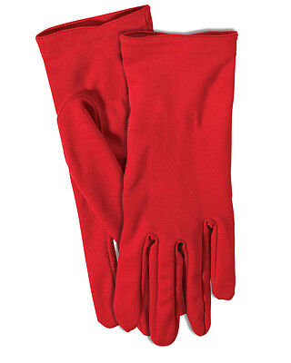 Adult's Womens Short Red Superhero Gloves Costume Accessory