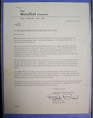 1964 Dated Letter from The Wuritzer Company, N. Tonawanda, N.Y.