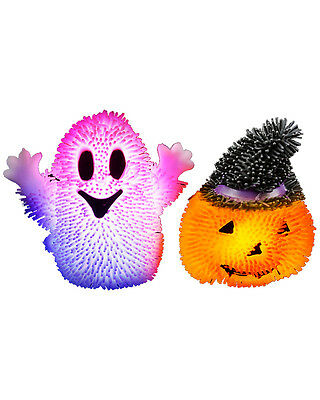 12 Assorted Light Up Squishy Halloween Stress Puffer Ball Release Squeeze Toys