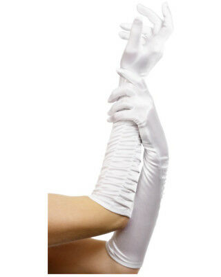 Adult White Elbow Length Temptress Long Dress Gloves Costume Accessory