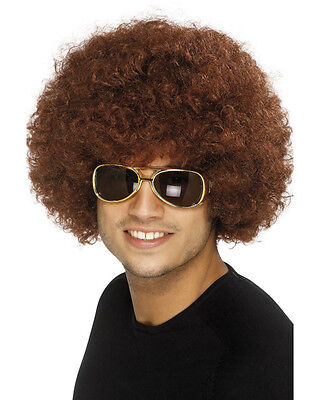 Adult 70s Curly Afro Retro Funky Disco Brown Wig Costume Accessory