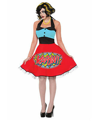 Adult's Womens Comic Book Kapow Action Word Tight Dress Costume