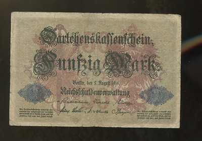 Germany German 1914 Real  Circ Old 50 Mark Banknote Bill Note Paper Money