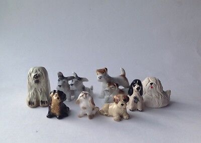 Collection of 8 Miniature Dog Figurines Terriers Spaniels  Dog Lovers gift