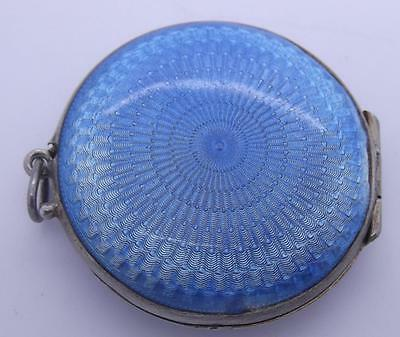 Vintage Asprey Sterling Silver And Enamel Compact/pendant