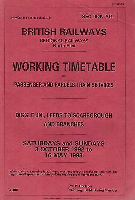 1992 3 OCTOBER 1070F British Railways NORTH EAST WORKING TIMETABLE SECT YG