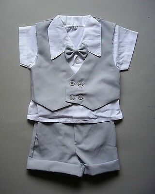Light Grey BABY BOY SHORTS OUTFIT Special Occasion Suit Wedding Formal Clothing