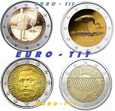 2 €  GRECE  /  LETTONIE  /  SLOVAQUIE  /  FINLANDE  4 PIECES 2015     disponible