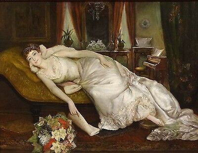 Huge Fine 19th Century Reclining Lady Opera Singer Portrait Antique Oil Painting