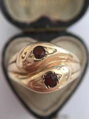 Antique Snake Serpent Ring Double Coiled Twist Unusual Ruby Eyes Large Heavy