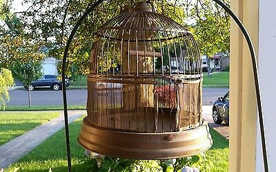 Antique Brass Bird Dome Cage & Painted Green Cast Iron Stand circa 1890.