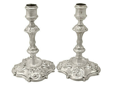 Antique Pair of Sterling Silver Candlesticks, George II