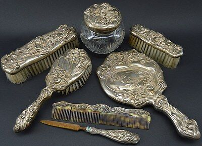 Antique Sterling 7-PC Art Nouveau Lady Motif Vanity Set By WM.B. KERR & CO 1901