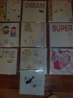 Job Lot 60 x Asstd Quality Birthday Greeting Cards Hand Decorated Avant Garde