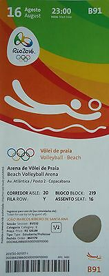 TICKET 16.8.2016 Olympia Rio Beachvolleyball Deutschland - USA # B91