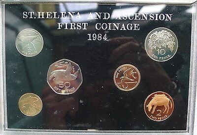 Saint Helena and Ascension PROOF set 1984 £1 , 50p , 10p , 5p , 2p and 1p
