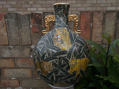 Vintage Large Pottery Moon Shaped  Vase With Tigers