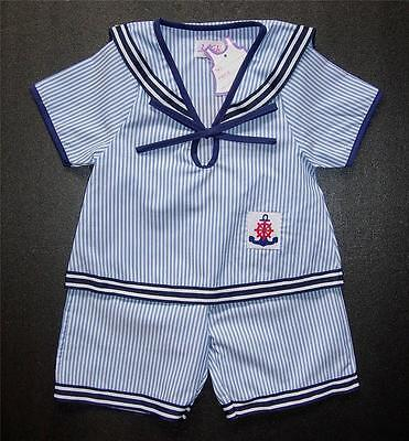 BABY BOY SAILOR OUTFIT Pale Blue & White Striped Summer Suit Pyjama Clothing