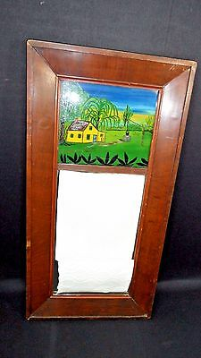 Antique Two Part Mirror In mahogany Frame reverse painting top ca. 1850 s