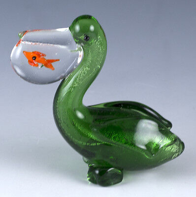 "Miniature Hand Blown Art Glass Green Pelican With Fish Figurine 2.5"" High New"