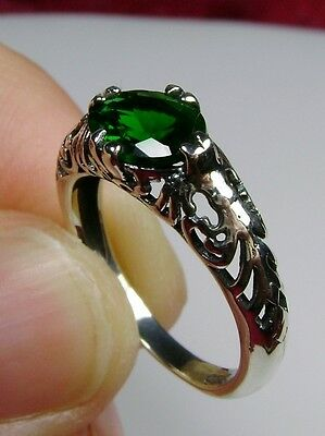 1ct*Green Emerald* Victorian Solid Sterling Silver Filigree Ring {Made To Order}