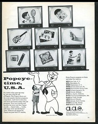 1958 Popeye cartoon art ukulele record punching bag etc photo AAE print ad