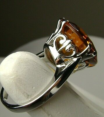 10ct *Orange Citrine* Solid Sterling Silver Filigree Ring Size: [Made To Order]