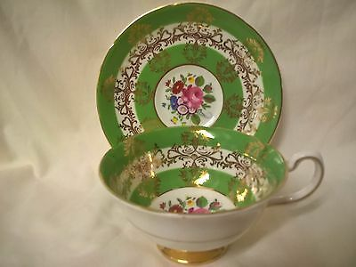 Vintage Royal Grafton Cabinet Tea Cup & Saucer Duo - Green/Gold/Floral