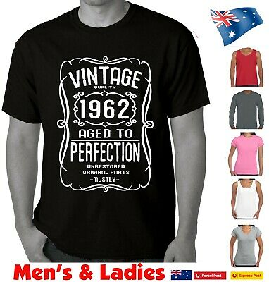 58a65b0d 60th Birthday 1959 aged to perfection Funny T-shirts Mens tee's Women's ...