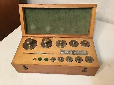 Vintage Scientific Gold Scale Weight Set Great Case Incomplete