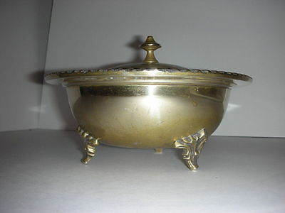 Vintage Brass dish/bowl with floral design lid