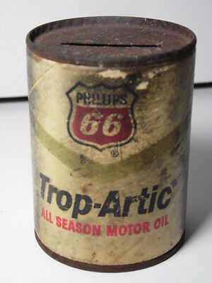 OLD VINTAGE 1960s PHILLIPS 66 Motor Oil Can Bank Gas Oil Advertising Petroliana