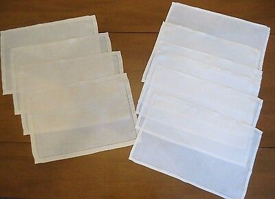 VTG Fine Linen Hemstitch Placemats Two Sets White and Tan Total 10 Placemats
