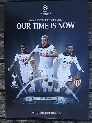 TOTTENHAM/SPURS v MONACO: 2016 LIMITED EDITION CHAMPIONS LEAGUE POSTER: WEMBLEY