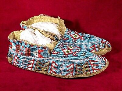 Antique SIOUX BEADED MOCCASINS