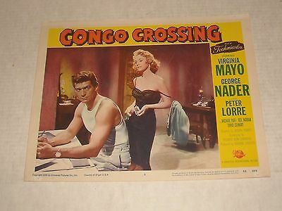 1956 Congo Crossing Lobby Card 4 Virginia Mayo George Nader Peter Lorre Action