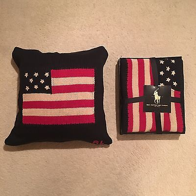 Ralph Lauren Home Boxed Flag Cable Throw / Cable Cushion Set - Navy RRP £334.00