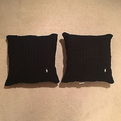 Ralph Lauren Home Polo Player Cushion Cover Pair Black Size 45x45cm RRP: £218.00